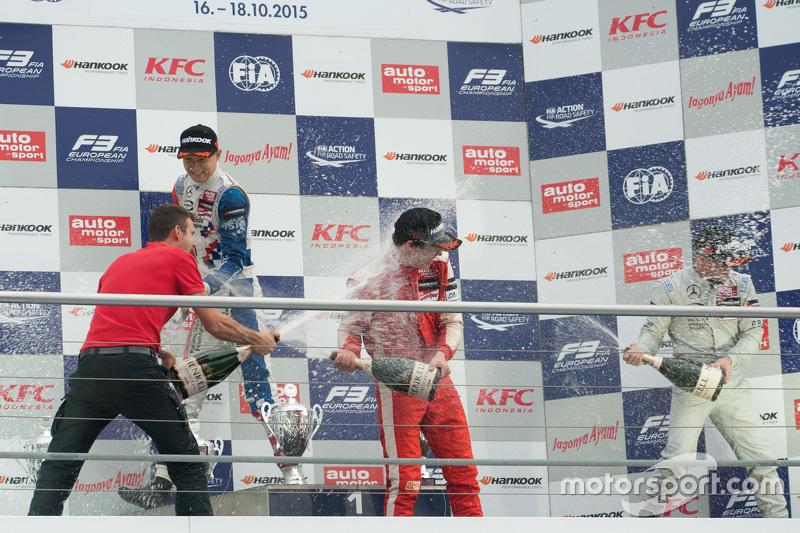 Race 1 Podium: second place Jake Dennis and winner  Lance Stroll and third place Felix Rosenqvist, Prema Powerteam Dallara Mercedes-Benz