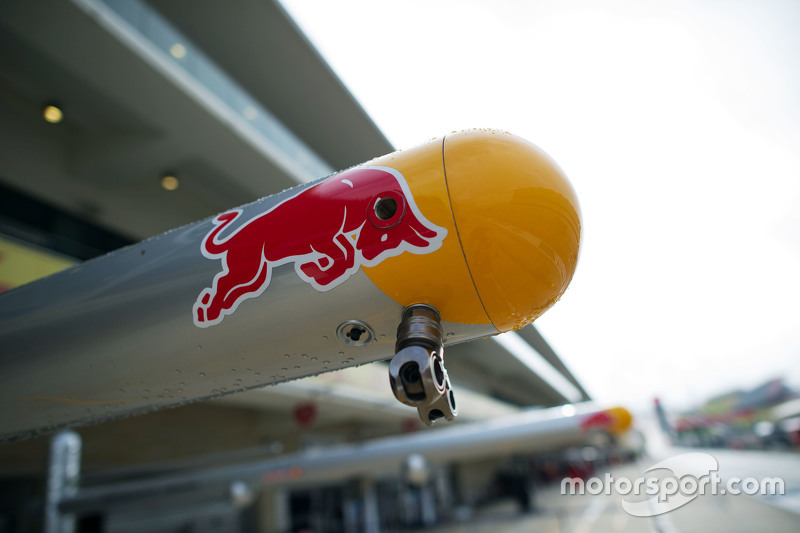 Red Bull Racing pit equipment and logo