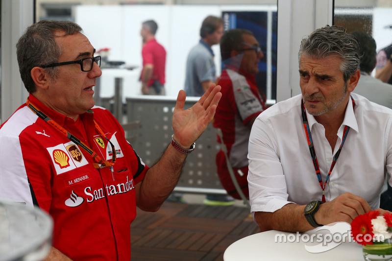 (L to R): Modesta Menabue, Ferrari Engine Specialist with Maurizio Arrivabene, Ferrari Team Principal