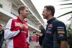 Себастьян Феттель, Ferrari и Кристиан Хорнер, руководитель Red Bull Racing