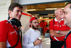 (L to R): Graeme Lowdon, Manor Marussia F1 Team Chief Executive Officer with Will Stevens, Manor Marussia F1 Team; John Booth, Manor Marussia F1 Team Team Principal; and Gianluca Pisanello, Manor Marussia F1 Team Chief Engineer