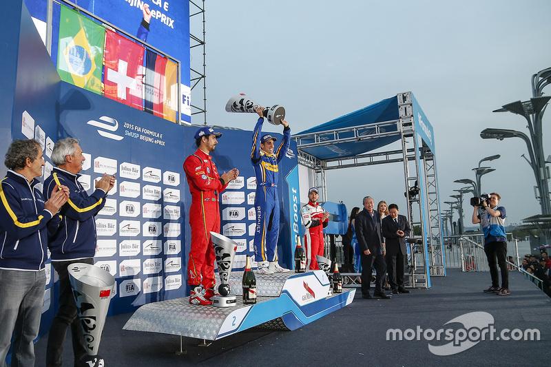 Podium: winner Sébastien Buemi, Renault e.Dams, second place Lucas di Grassi, ABT Schaeffler Audi Sp