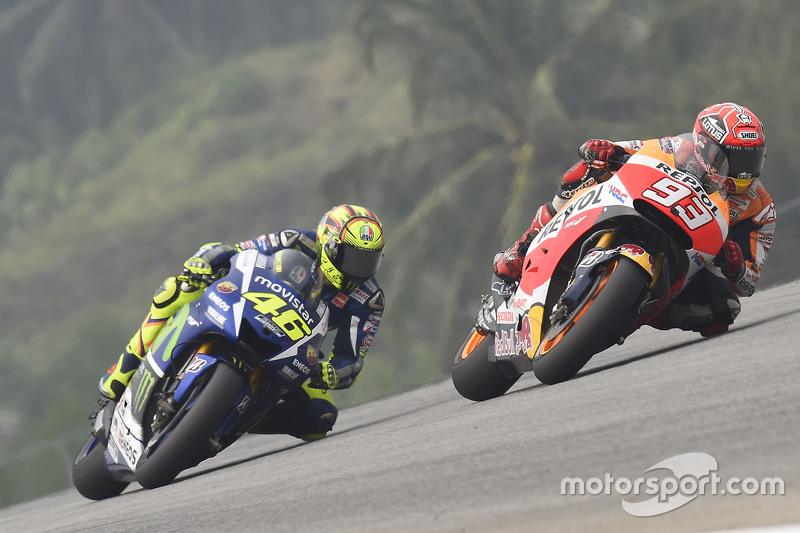 Marc Marquez e Valentino Rossi no GP da Malásia deste ano