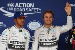 Qualifiche: il poleman Nico Rosberg, Mercedes AMG F1, il secondo classificato Lewis Hamilton, Mercedes AMG F1