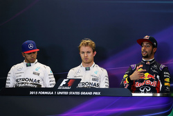 The post qualifying FIA Press Conference: Lewis Hamilton, Mercedes AMG F1, second; Nico Rosberg, Mer