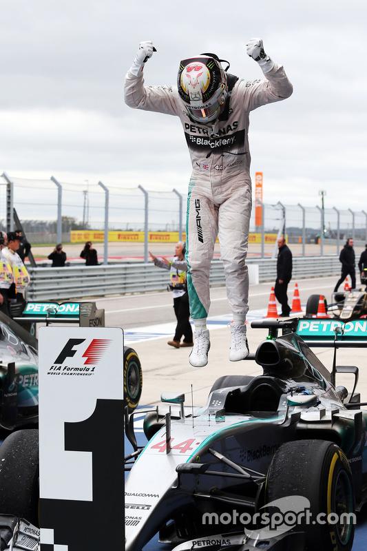 Race winner and World Champion Lewis Hamilton,  Mercedes AMG F1 W06 celebrates in parc ferme