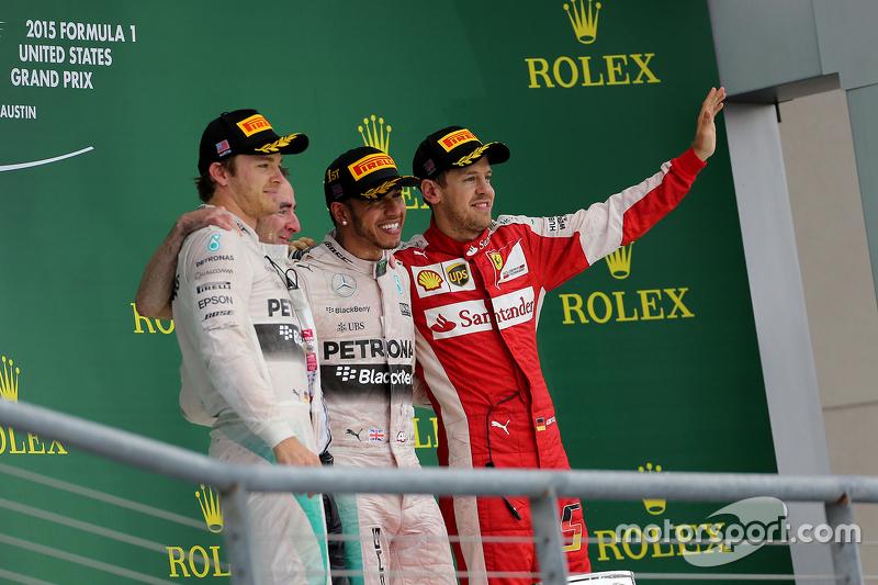 Podium: 2. Nico Rosberg, Mercedes AMG F1 Team; 3. Sebastian Vettel, Scuderia Ferrari; 1. Lewis Hamilton, Mercedes AMG F1 Team