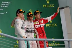Podium: Second place Nico Rosberg, Mercedes AMG F1 Team, third place Sebastian Vettel, Scuderia Ferrari and race winner and World Champion Lewis Hamilton, Mercedes AMG F1 Team
