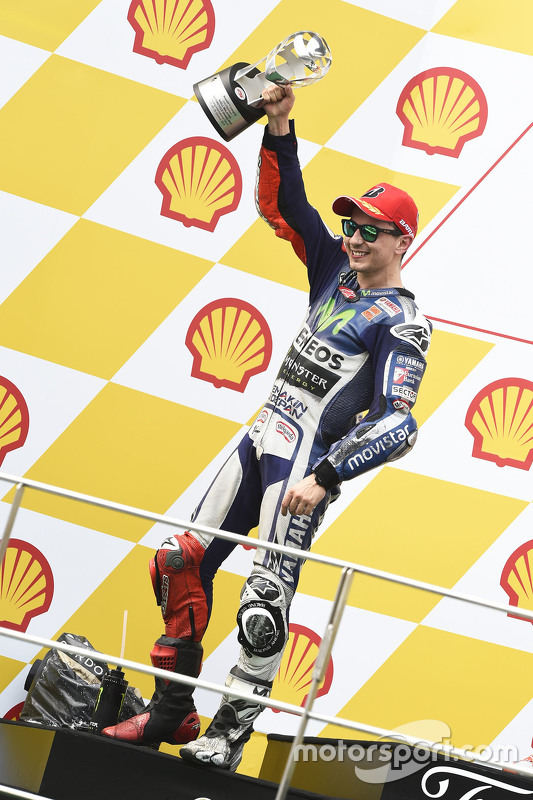Podium: tweede plaats Jorge Lorenzo, Yamaha Factory Racing