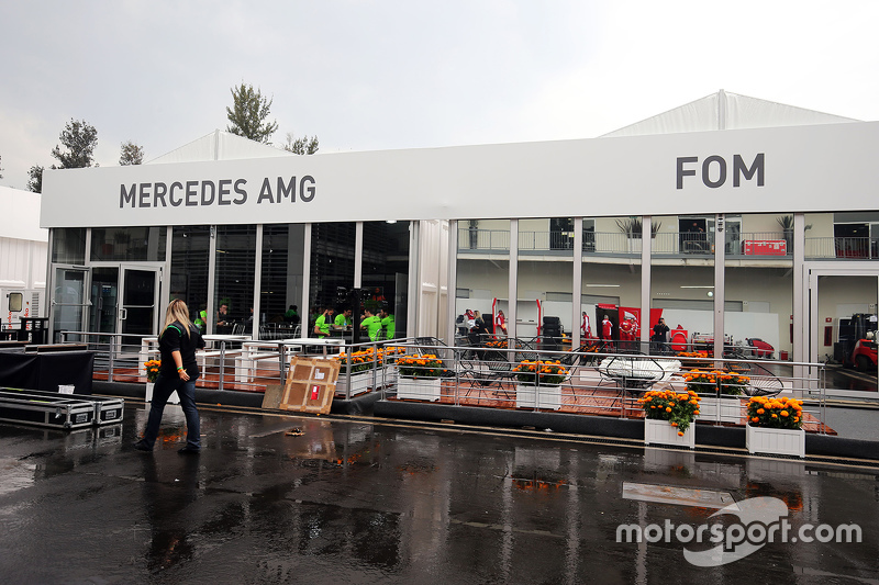 Paddock buildings for Mercedes AMG F1 and the FOM