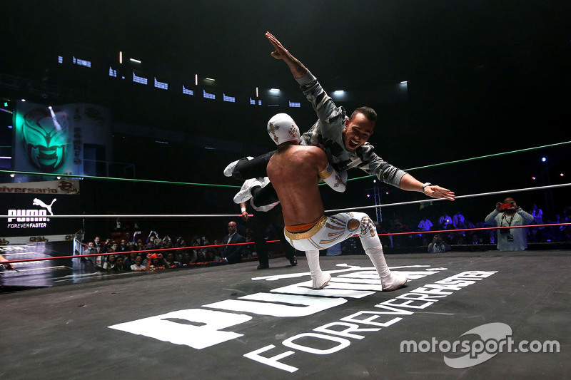 Lewis Hamilton participates in a Mexican Wrestling event in Mexico City