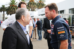 Jean Todt, FIA President with Christian Horner, Red Bull Racing Team Principal