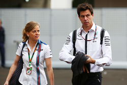 Susie Wolff, Williams Development Driver with her husband Toto Wolff, Mercedes AMG F1 Shareholder an