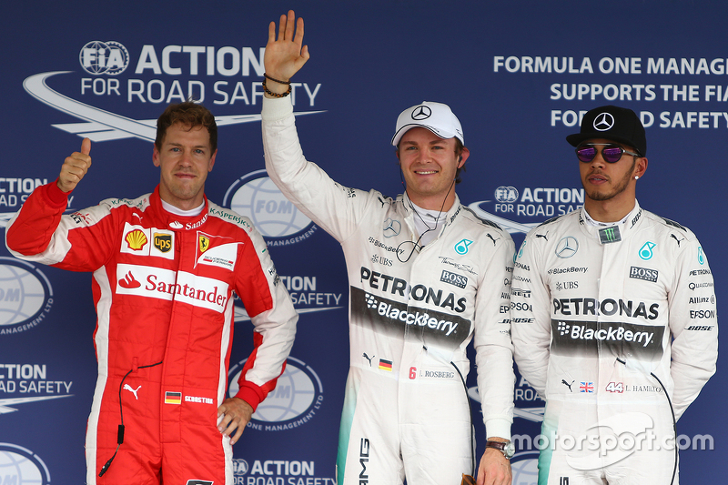 Pole for Nico Rosberg, Mercedes AMG F1 W06, second for Lewis Hamilton, Mercedes AMG F1 and third Seb