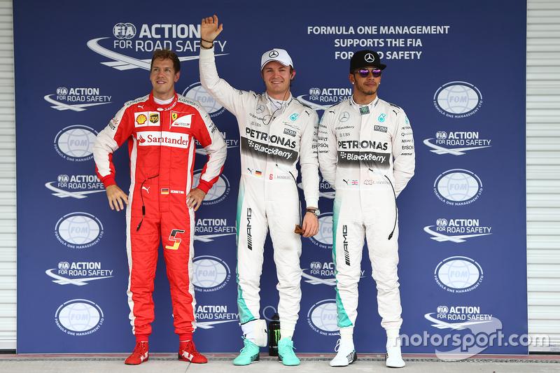 Pole for Nico Rosberg, Mercedes AMG F1 W06, second for Lewis Hamilton, Mercedes AMG F1 and third Seb