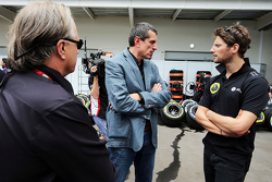 Gene Haas, Haas Automotion President with Guenther Steiner, Haas F1 Team Principal and Romain Grosjean, Lotus F1 Team