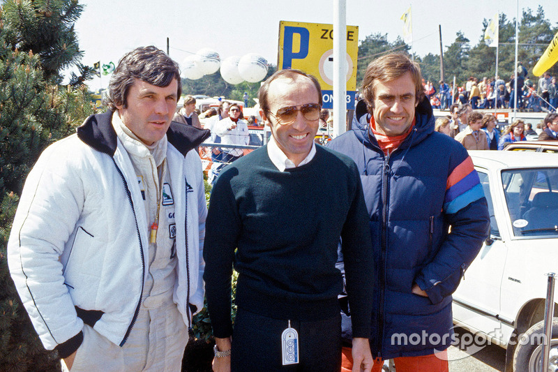 Frank Williams with Alan Jones and Carlos Reutemann, Williams