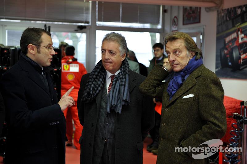 Stefano Domenicali, Piero Ferrari and Luca di Montezemolo