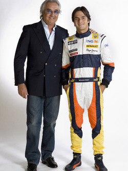 Flavio Briatore, Managing Director, Renault F1, Nelson A. Piquet, Renault F1 Team