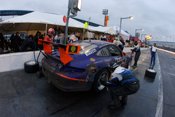 Pit stop for #68 TRG Porsche GT3 Cup: Michael Auriemma, Michael Gomez, John Mayes, Brent Milner, Scott Schroeder