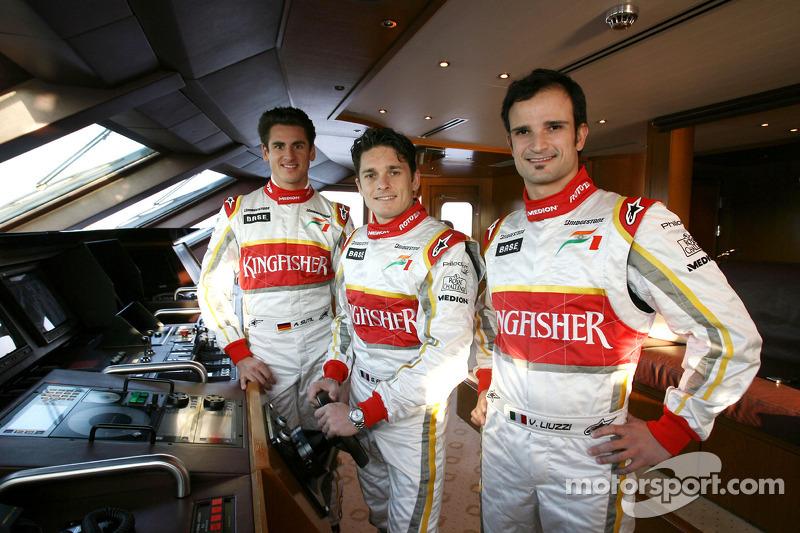 Adrian Sutil, Giancarlo Fisichella y Vitantonio Liuzzi
