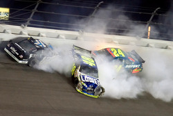 Ryan Newman, Jeff Gordon and Jimmie Johnson crash