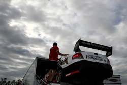 Jim Beam Racing unloading the cars from the transporter