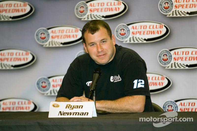 Ryan Newman speaks to the media
