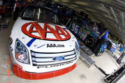 The AAA Ford sits in the garage before practice