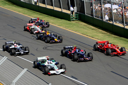 Kimi Raikkonen, Scuderia Ferrari, F2008, Sebastian Vettel, Scuderia Toro Rosso, STR02 and Jenson Button, Honda Racing F1 Team, RA108