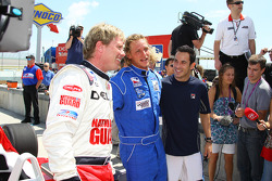 Davey Hamilton, tennis pro David Nabaldian and Helio Castroneves