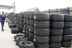 Stacks of tires are ready for pickup by Sprint Cup crews