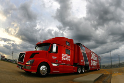 Carl Edwards Office Depot hauler makes it's entrance onto the grounds at Talladega Superspeedway