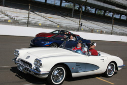 Corvettes of all years made a lap around the famed Indianapolis Motor Speedway