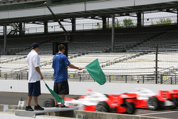 Honorary Starters, Melvin Bullitt, left, and Brannon Condren, Defensive Backs for the Indianapolis Colts, wave the green flag