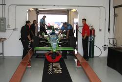 Ryan Hunter-Reay's No. 17 car going through inspection