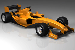A CAD rendering of the new 'Powered by Ferrari' A1GP car for use in season four (2008/09)