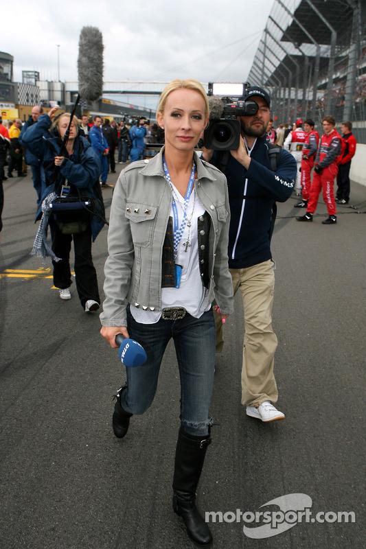 Cora Schumacher, wife of Ralf Schumacher, working on the