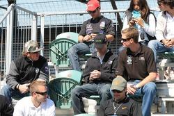 Buddy Rice, Alex Lloyd, and Ryan Hunter-Reay talking