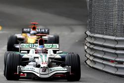 Jenson Button, Honda Racing F1 Team leads Fernando Alonso, Renault F1 Team