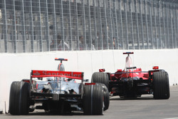 The cars of Lewis Hamilton, McLaren Mercedes and Kimi Raikkonen, Scuderia Ferrari