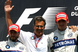 Podium: Robert Kubica, Nick Heidfeld and Dr. Mario Theissen