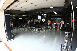 McLaren Mercedes garage before the race