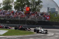 Rubens Barrichello, Honda Racing F1 Team leads Sebastian Vettel, Scuderia Toro Rosso