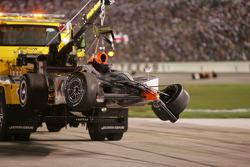 Oriol Servia's car returns on a hook
