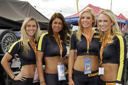 The Pirelli girls in pit lane