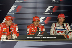 Post-race press conference: race winner Felipe Massa, with Kimi Raikkonen and Jarno Trulli