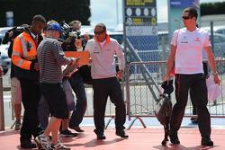 Lewis Hamilton, McLaren Mercedes arrives and signs autographs