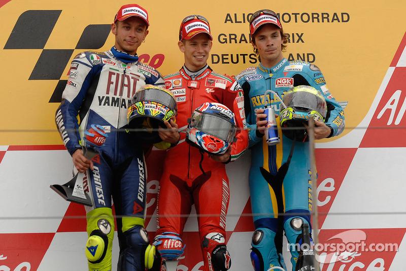 2008: 1. Casey Stoner, 2. Valentino Rossi, 3. Chris Vermeulen
