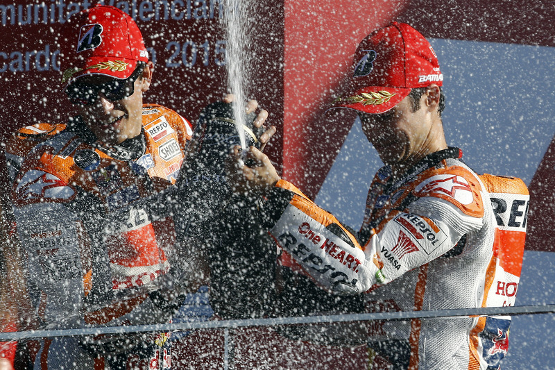 Podium: Second place Marc Marquez and third place Dani Pedrosa, Repsol Honda Team